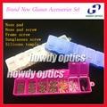 O Envio gratuito de Óculos Acessórios Definir Acessórios Kit Incluindo PVC Almofadas Nariz De Óculos, Parafusos, Silicone Orelha Gancho Templo