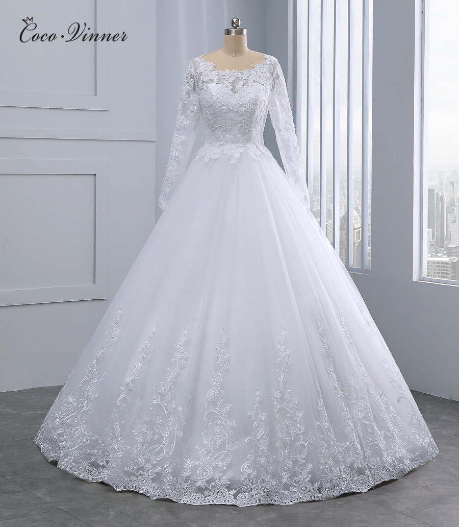 Long Sleeve Quality Dubai A Line Wedding Dresses Boat Neck Charm Embroidery Appliques Plus Size Brand Wedding Dress WX0096