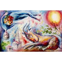 Large size wall knife oil painting on canvas sunny goat art modern decor home picture