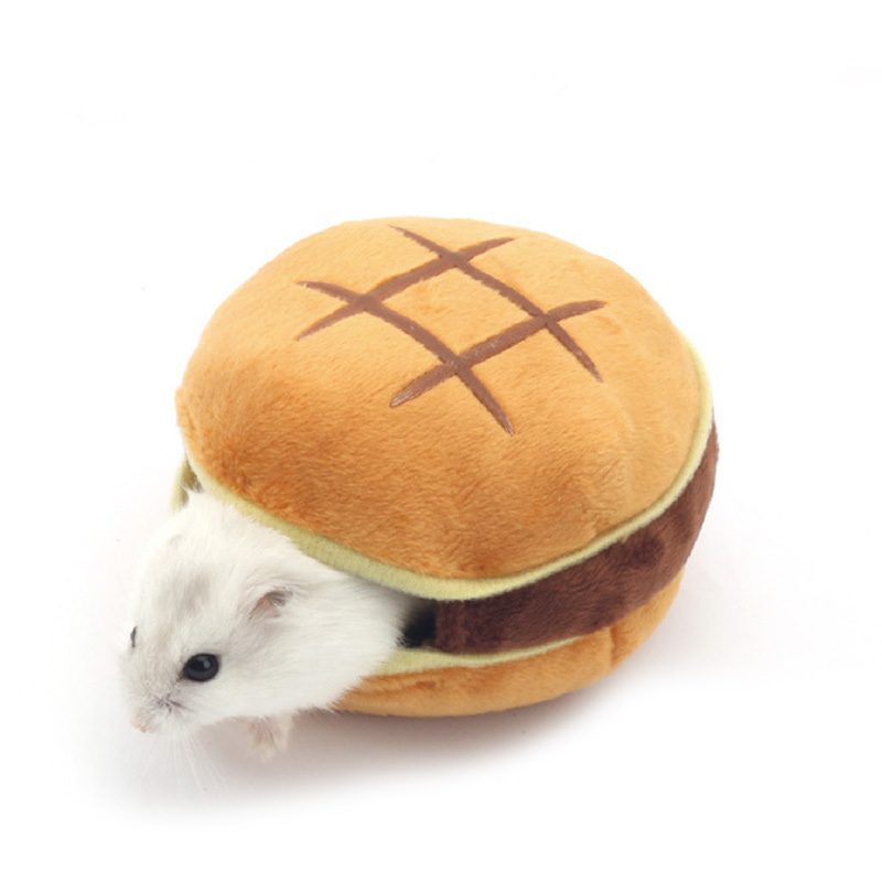 Cute Hamburger Small Animal Pet Hamster House Bed Winter Warm Squirrel Hedgehog Chinchilla House Cage Nest Hamster Accessory