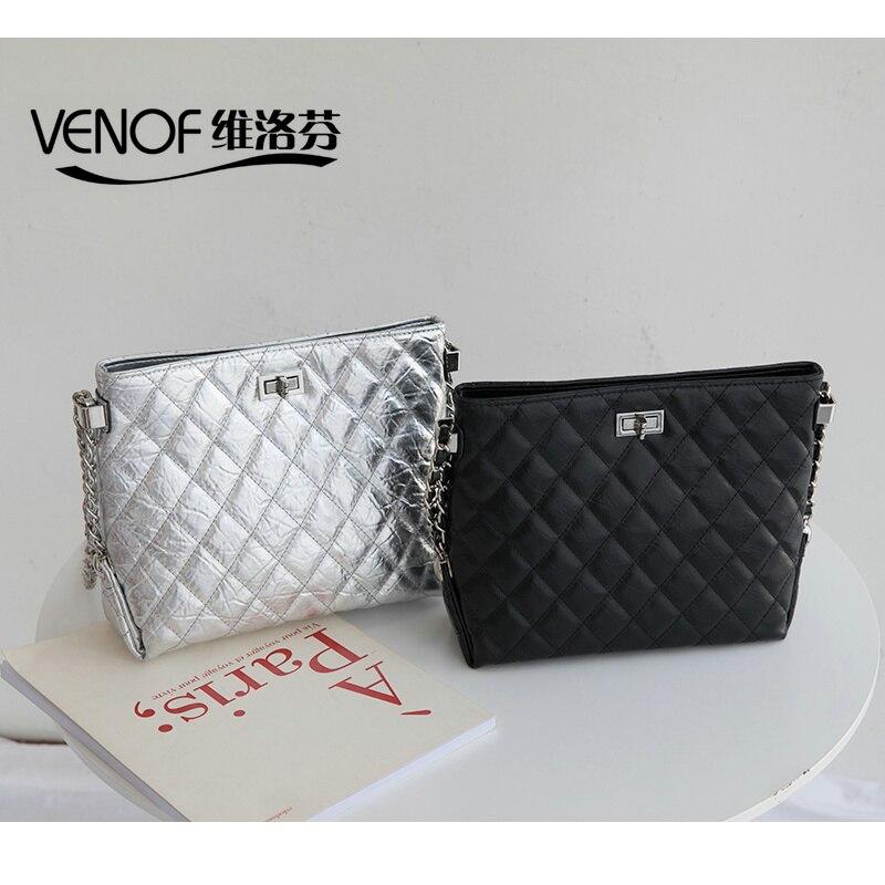 VENOF luxury designer women split leather rhomboids bag ladies chain shoulder Messenger Bag female crossbody bags for women 2018 цена