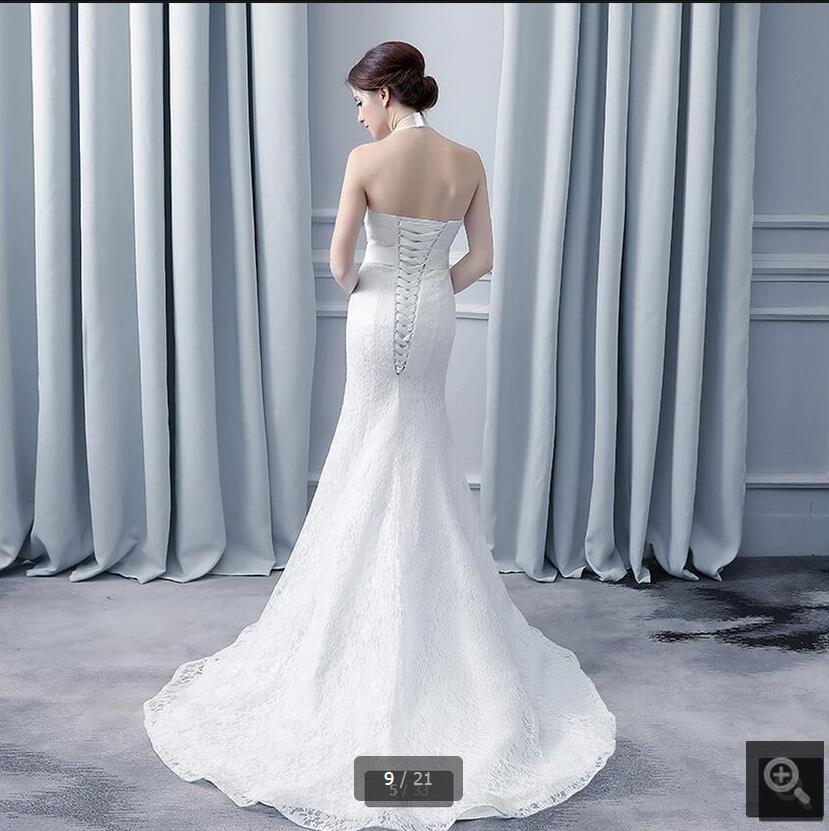 Vestido De Novia white lace mermaid halter neckline beaded wedding ...