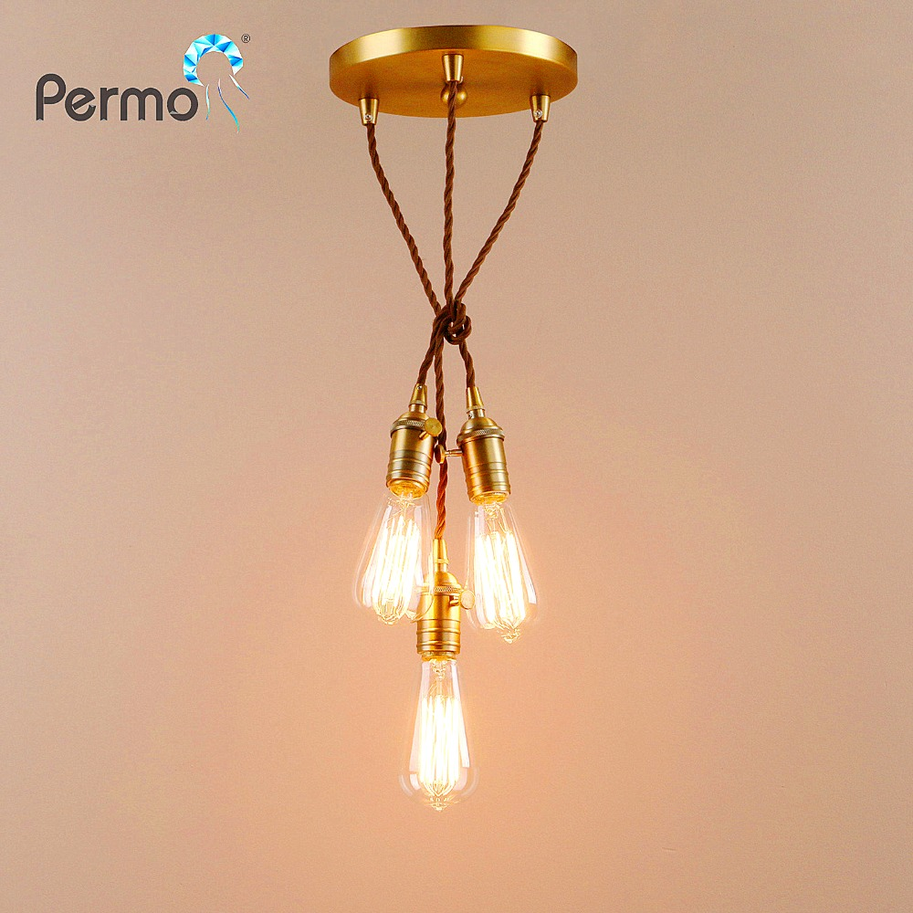 PERMO Vintage Rope 3 Heads Pendant Lights Loft Industrial Pendant Ceiling Lamps Modern Hanglamp Luminaire Lights Fixture Bar permo industrial pendant lights loft vintage hanglamp iron pulley pendant lamp bar kitchen e27 edison light fixtures 1 2 3 heads
