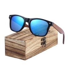 BARCUR Vintage Sunglasses Black Walnut Sun glasses Men Women Polarized oculos Sunglasses Feminino