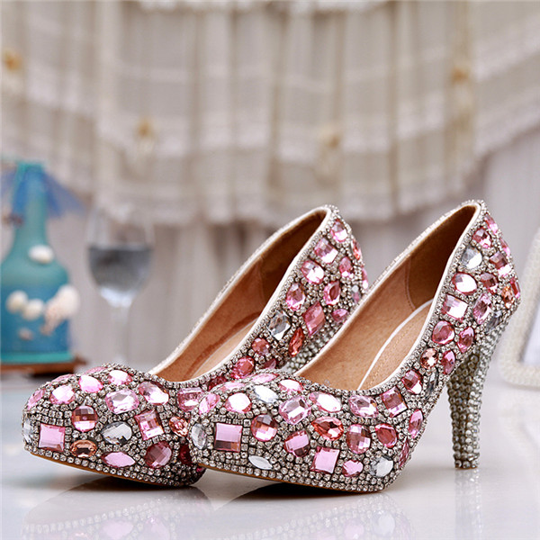 Fashion New Round Red Crystal Wedding Shoes High Rhinestone Shoes Bridal Shoes Red Wedding Shoes red crystal