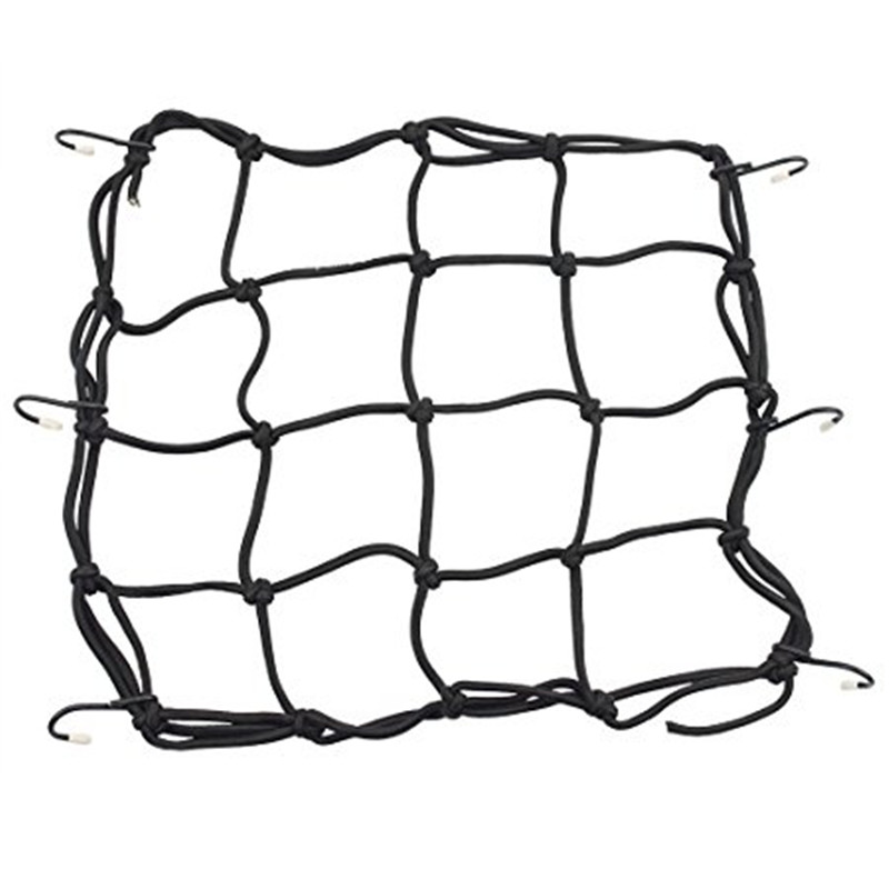 GOOFIT 40cmx40cm Elasticated Bungee Luggage Cargo Net with Hooks Hold Down for Motorcycles Motorbike ATVs Bikes Cars Trucks
