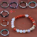 UMY Silver Plated Mixed Quartz Stone 8 mm Round Beads Stretch Religious Buddha Head Bracelet