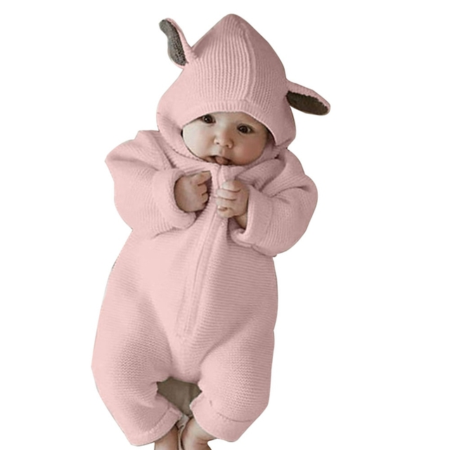 280cb8f772d54 Cute Rabbit Ear Hooded Baby Rompers For Babies Solid Color Clothes Newborn  Long-sleeved Jumpsuit Infant Costume Baby Outfit