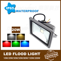 100 шт. AC85-265V теплый белый RGB 20 Вт светодиодные лампочки потока с подсветкой открытый светодиодные IP65 900lm Бесплатная доставка