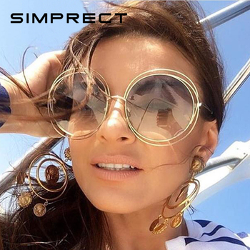 35130e3170 SIMPRECT De ronda De gafas De sol De las mujeres 2019 Retro espejo UV400 gafas  De sol De marca De diseñador Vintage Lunette De Soleil Femme