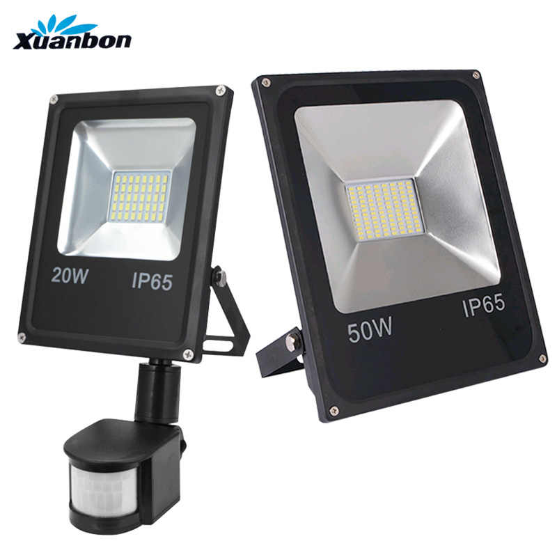 AC110V 220V Ultradunne 10W 20W 30W 50W Led Schijnwerper Met Pir Motion Sensor Detector Waterdicht spotlight Outdoor IP65 Smd