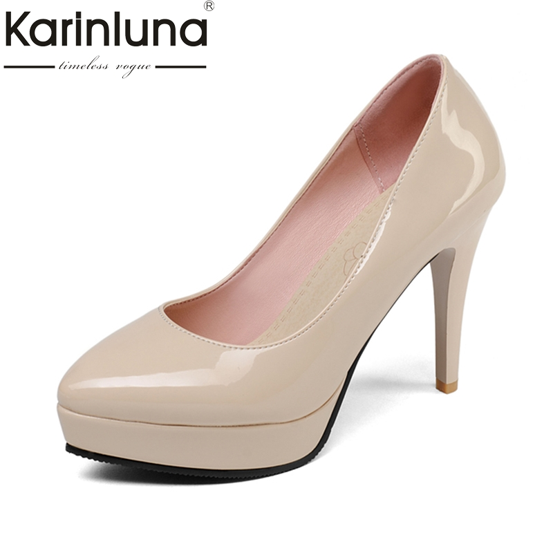 KARINLUNA Top Quality 2018 Large Size 32-43 Slip On Platform Women Shoes Woman Fashion Thin High Heels Party Wedding Pumps цена