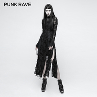 PUNK RAVE Gothic Retro Lace Rope Dress For Women Steampunk Black Long Sleeve Sexy Dresses Rock