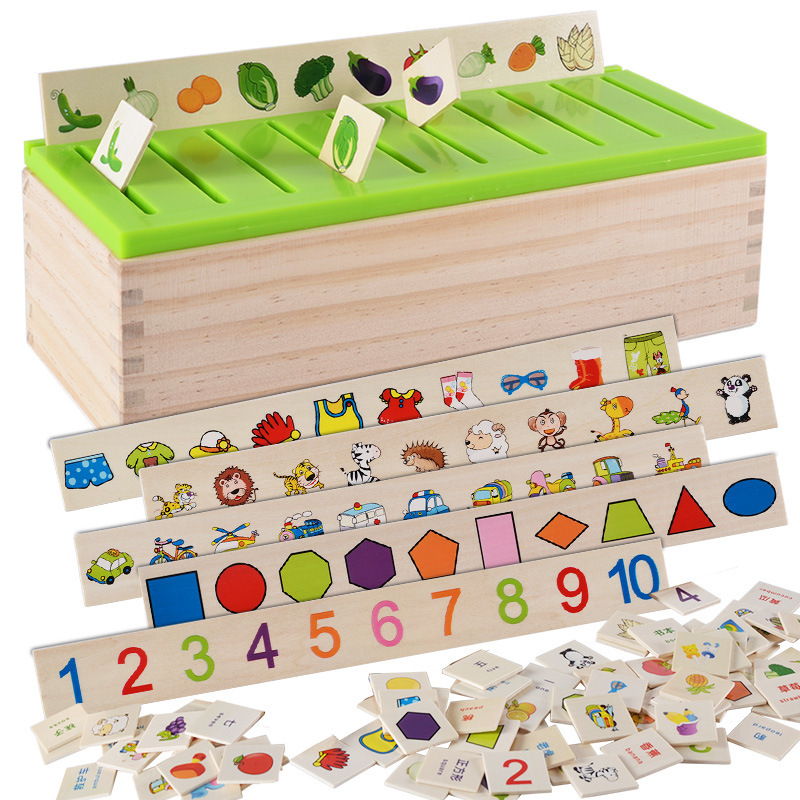 Montessori Mathematical Knowledge Classification Cognitive Matching Kids Early Educational Learn Toy Wood Box Gifts For Children