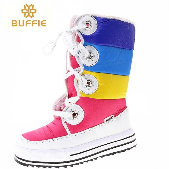 Farbe Stiefel Knie-Hohe Frauen schuhe 2018 neue ankunft lace up schnee stiefel Schöne und hohe qualität winter stiefel mädchen Stiefel freies schiff
