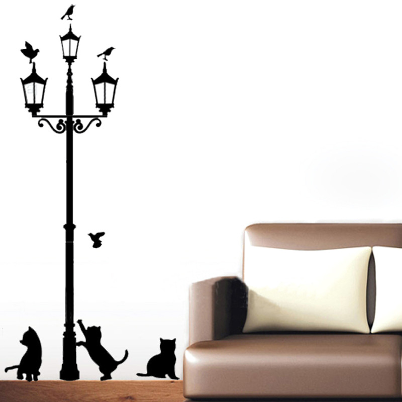 Street Lamp Cat Vinyl Home Room Decor Wall Decal Sticker Bedroom Removable Mural