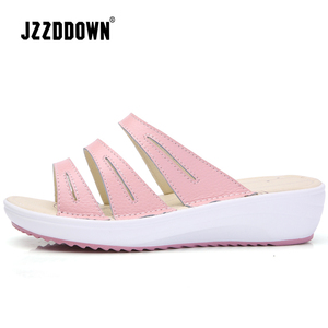 Image 3 - Genuine Leather Womens Beach  Slippers Sandals Flip Flops Shoes Ladies Summer Wedges Casual Female Platform Sandals Shoes