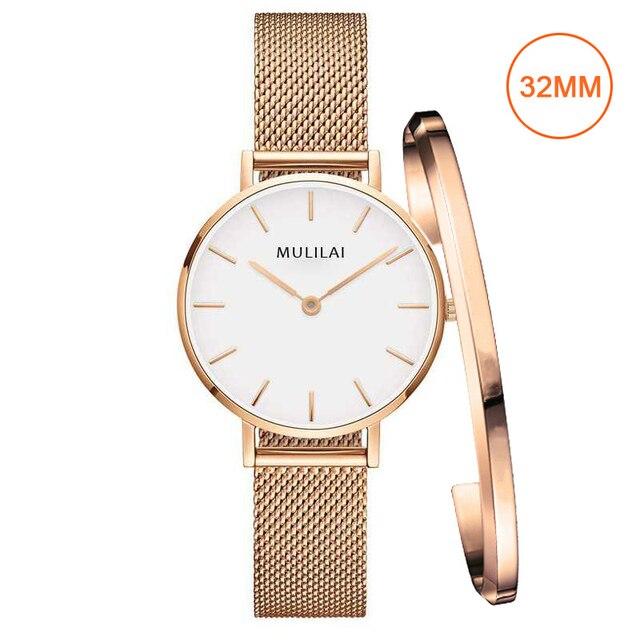 32mm Luxury Brand Ladies Steel Bracelet Quartz Watch fashion Simple Rose gold wo