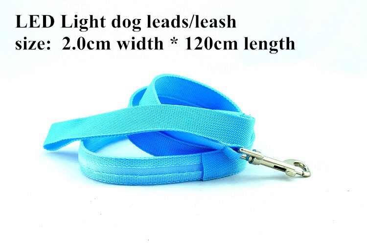 B03 2.0 cm width Pet dog LED leahses leads pet traction rope pull strap for dogs cats 120cm length battery and USB Rechargeable