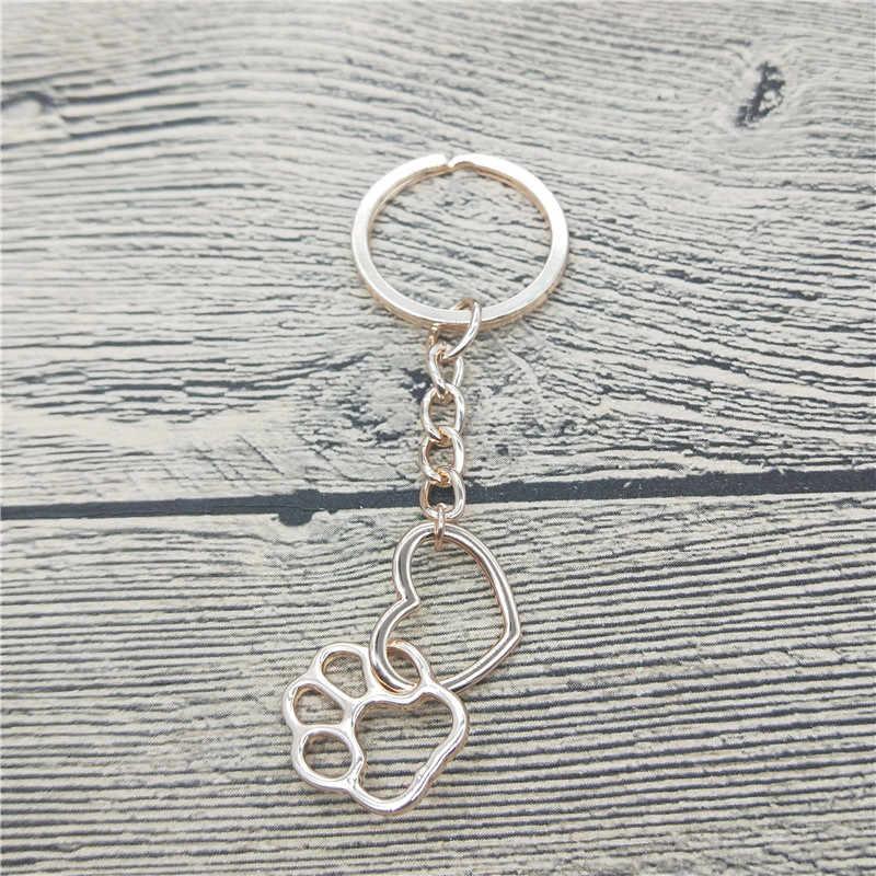 Полые Pet Paw брелок для ключей с отпечатком ноги Shellhard милые животные собака кошка любовь сердце кулон брелок для женщин обувь девочек ювелирные изделия