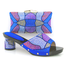 Blue Top Fashion African Wedding Shoes And Bag Set Hot Sale Fashion Party Shoes And Bag Set Matched!HPK1-6
