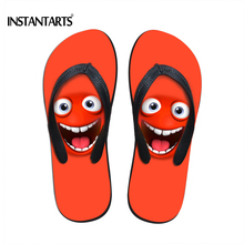 INSTANTARTS Vivid Expression Emoji Flip Flops for Women Rubber Flipflop Summer Beach Flat Shoes Female Home Slippers Plus Size