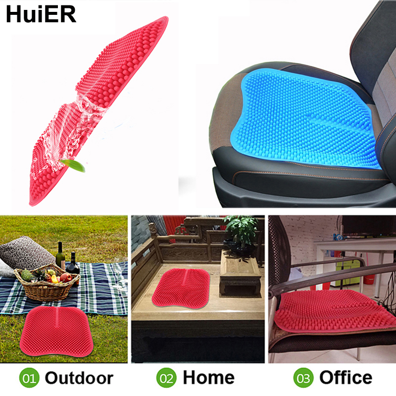 HuiER Car Seat <font><b>Cushions</b></font> Massage High Memory Silicone Breathable Mesh Silica Gel Auto Car Seat Covers Car Styling Free Shipping