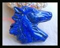 New Design Carved Animal Horse Head Lapis Lazuli Necklace Pendant 39*48*8mm 28.7g Natural Stone pendant carving neckalce