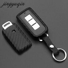 Jingyuqin pour Mitsubishi Outlander Lancer 10 Pajero Sport EX ASX Colt Grandis L200 Smart 2/3B couverture de clé de voiture en Silicone de carbone