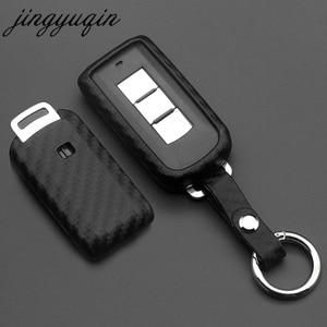 Image 1 - jingyuqin For Mitsubishi Outlander Lancer 10 Pajero Sport EX ASX Colt Grandis L200 Smart 2/3B Carbon Silicone Car Key Case Cover