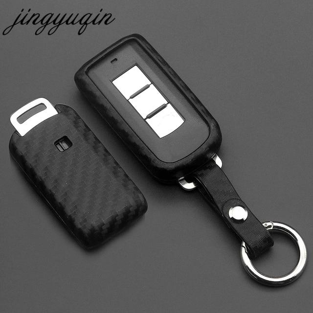 jingyuqin For Mitsubishi Outlander Lancer 10 Pajero Sport EX ASX Colt Grandis L200 Smart 2/3B Carbon Silicone Car Key Case Cover