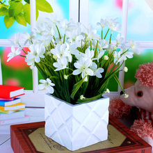 Orchid Silk Artificial Flowers Bouquet Bunch of 7 Fake Flower Graduation 2019 Home Wedding Decoration Table Indoor Fake Plants цена