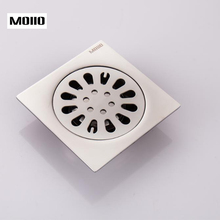 MOIIO 4 inch Brushed Stainless Square Floor Drain with Removable Cover Shower Room Made of Sus304 Steel