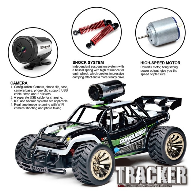 OCDAY 2.4G high-speed 1:16 model WIFI camera control car real-time transmission Remote control cars