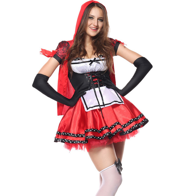 22f9a8fcd Plus Size 2XL Little Red Riding Hood Costume for Party Adult Small Red Cap  Cosplay Dress