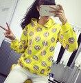 2016 осень Милый пончик печати пуловеры женщины толстовки кофты желтый большой размер M-XL sudaderas mujer мода moleton feminino