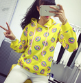 2016 autumn Cute donut print pullovers women hoodies sweatshirts yellow large size M-XL sudaderas mujer fashion feminino moleton