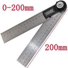 Best price New 2 IN 1 digital angle ruler 360 degree 200mm electronic digital caliper angle length measure High Quality