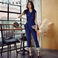 Dabuwawa Rompers Summer 2017 New Engand Style Double Breasted Sleeveless Solid One Piece Jumpsuit Women Pink