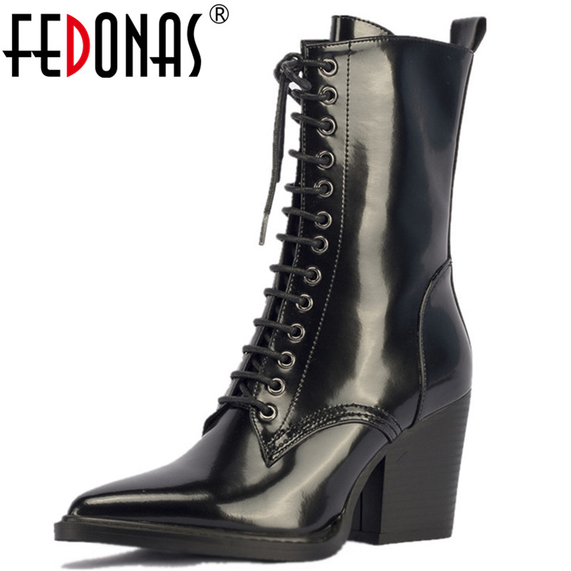 FEDONAS New Punk Women Night Club Party Shoes Woman Genuine Leather Corss-tied Mid-calf High Motorcycle Boots Ladies Ladies ShoeFEDONAS New Punk Women Night Club Party Shoes Woman Genuine Leather Corss-tied Mid-calf High Motorcycle Boots Ladies Ladies Shoe