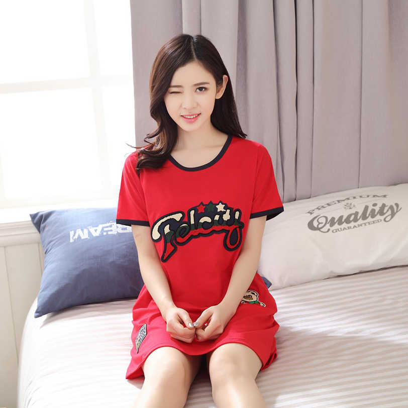 9e9aa1afe9 2019 Summer Women s Nightgowns short sleeved nightdress Cute Girls letter  Printed Sleepwear womens nightgown sleepwear