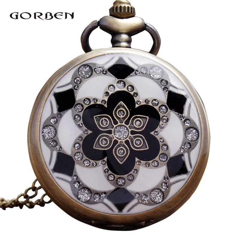 Retro White Green Flower Enamel Quartz Pocket Watch Antique Necklace Chain Pendent Men Women Watches