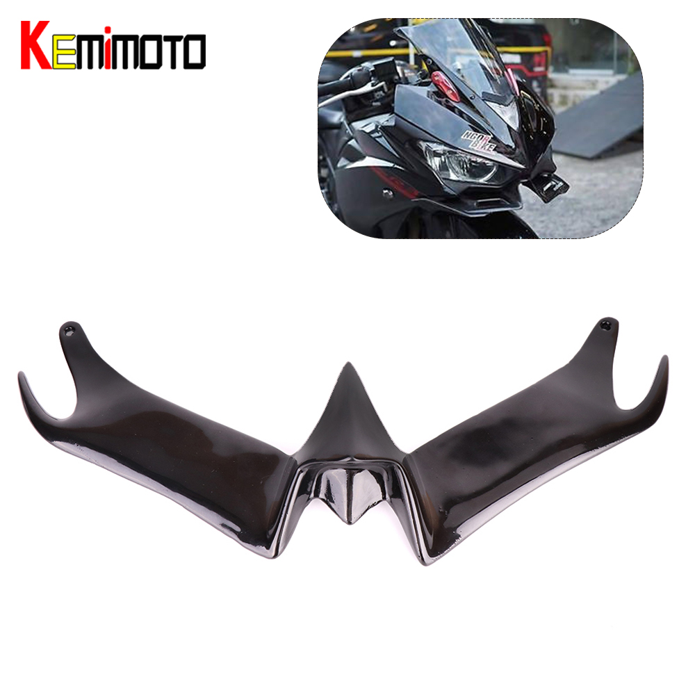 KEMiMOTO Front Aerodynamic Winglets MOTOGP STYLE Windshield For YAMAHA YZF-R3 YZF-R25 YZF R3 R25 2014 2015 2016 Black New Brand цена