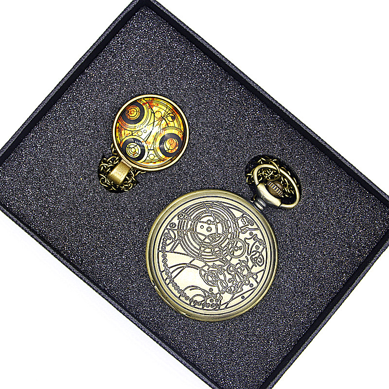 New Classic Doctor Who Series Pocket Watch Sets With Dr. Who Symbols Design Glass Dome Pendant Packing With Gift Box doctor who dr twelfth roger hargreaves