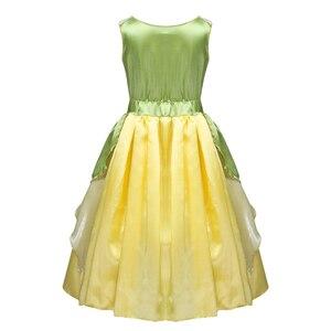 Image 2 - 5 10 jahre Mädchen Prinzessin Kleid Kind Weihnachten Grün EINE Linie Frosch Kleidung Kleid Phantasie Tiana Party Kleid für mädchen Cosplay Kleid Bis