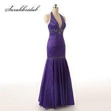 Сексуальные Холтер Вечерние платья с круглым вырезом спинки Элегантный Русалка Черный Фиолетовый атласные вечерние платья длиной до пола SD176
