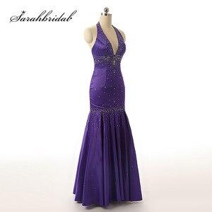 Image 1 - Sexy licou cou robes de soirée dos nu élégant sirène noir violet Satin perles fête robes de bal longueur de plancher longue SD176 5116