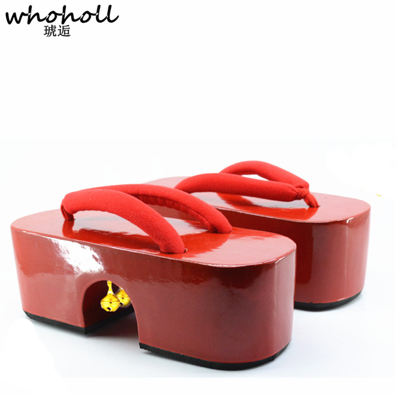 WHOHOLL Geta Japanese Geta Sandals Women Queen Geisha Costumes Wooden Slippers Thick Platform Bottom High heeled Clogs Shoes in High Heels from Shoes