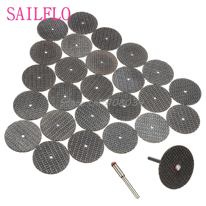 New 25Pcs 32mm Resin Cutting Wheel Cut-off Discs Kit +1Pc Mandrel For Rotary Tool S08 Wholesale&DropShip