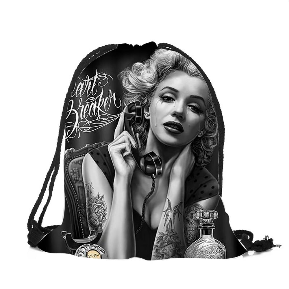 2018 Women New Fashion Monroe Tattooed Skull Images Drawstring Backpack Travel Softback Mochila 3D Printed String Bag